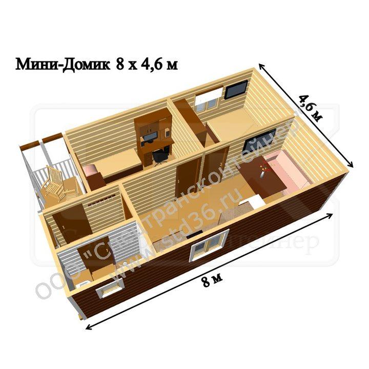 Модульный дом МД-03 8000*4800*2600